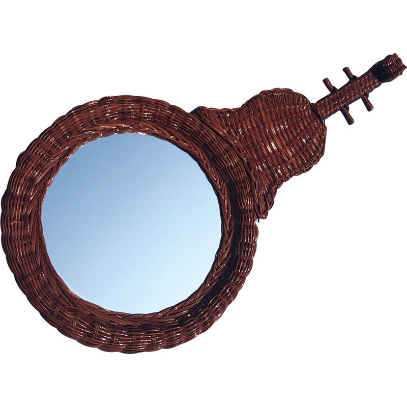 Vintage rattan mirror in the shape of a Spanish guitar, France, 1950