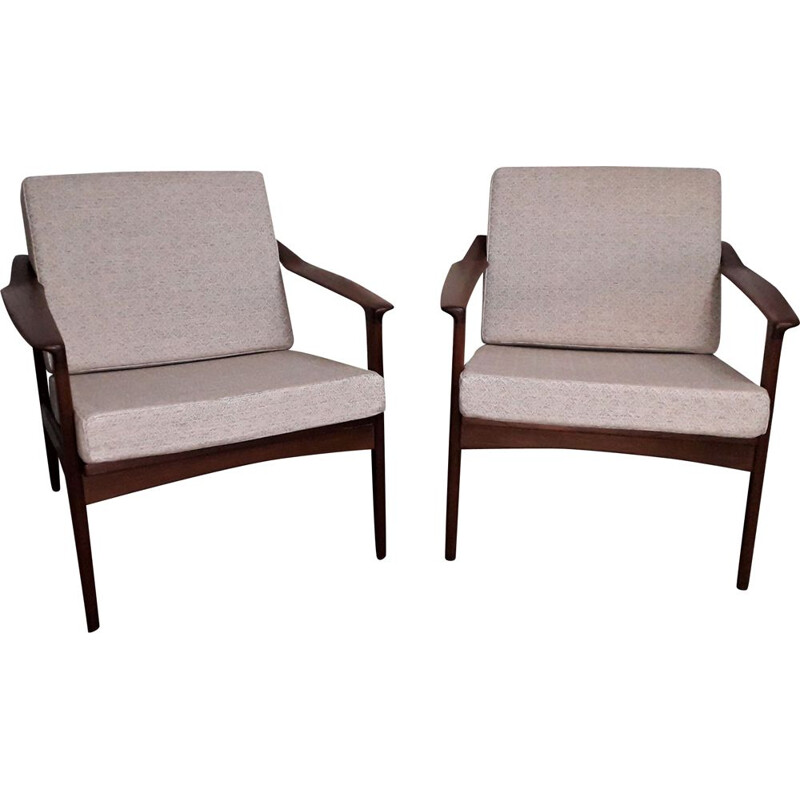 Pair of vintage scandinavian armchairs in solid teak, 1960