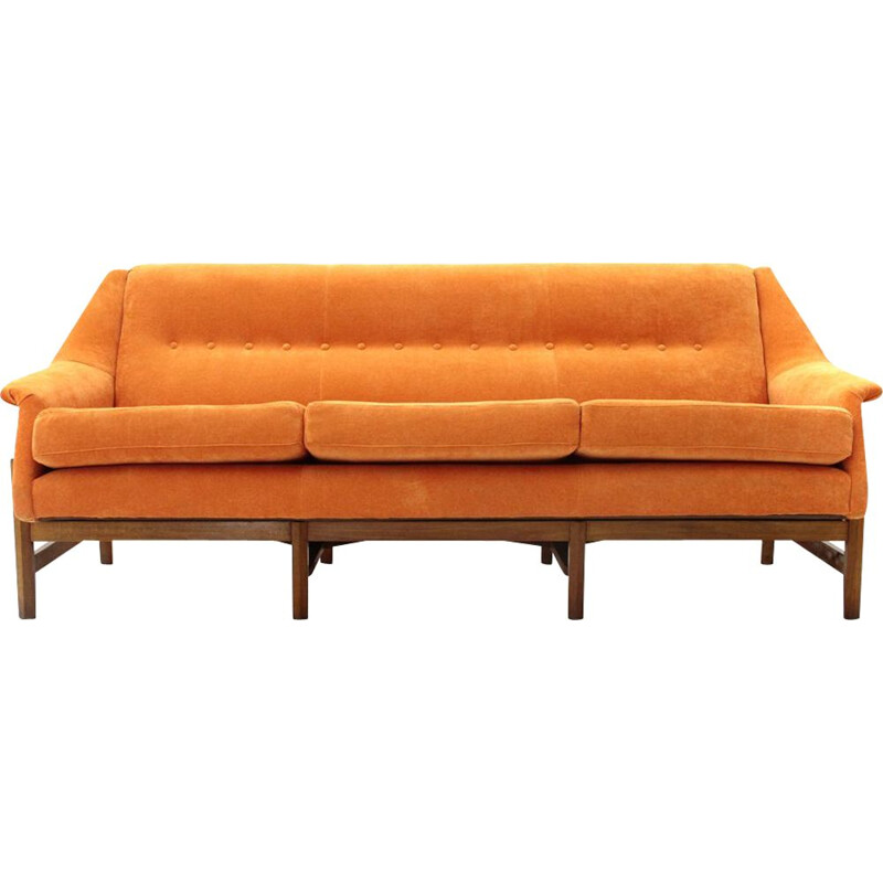 Vintage orange velvet 3-seater Italian sofa, 1960