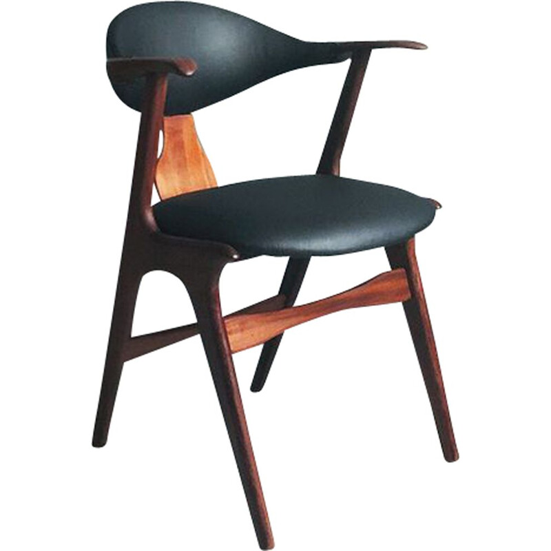 Vintage cow horn chair by Louis van Teeffelen for AWA factory, 1950s