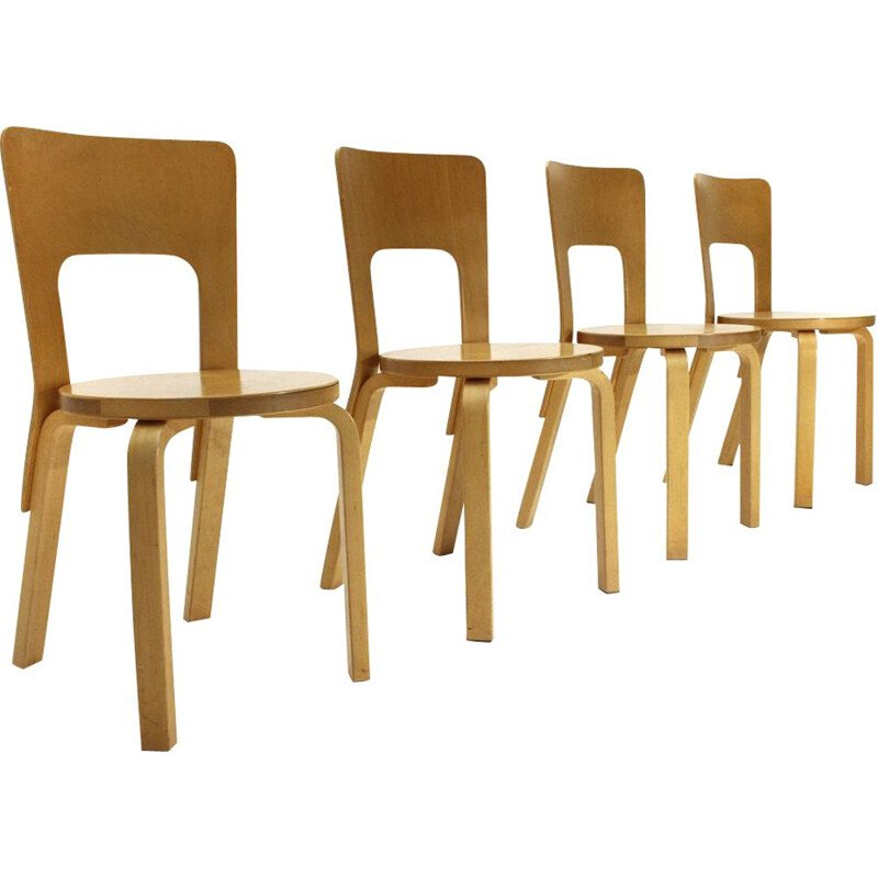 "Set of 4 vintage dining chairs ""chair 66"" in birch wood by Alvar Aalto for Artek , 1970s"
