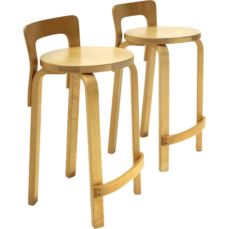 "Pair of vintage birch wood stools ""High Chair K65""  by Alvar Aalto for Artek, 1970s"