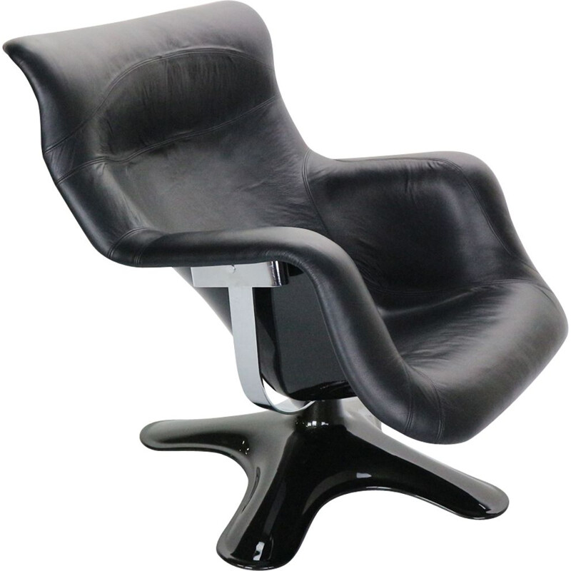 "Vintage lounge chair in black leather by Yrjö Kukkapuro ""Karuselli"" for Haimi, 1960s"