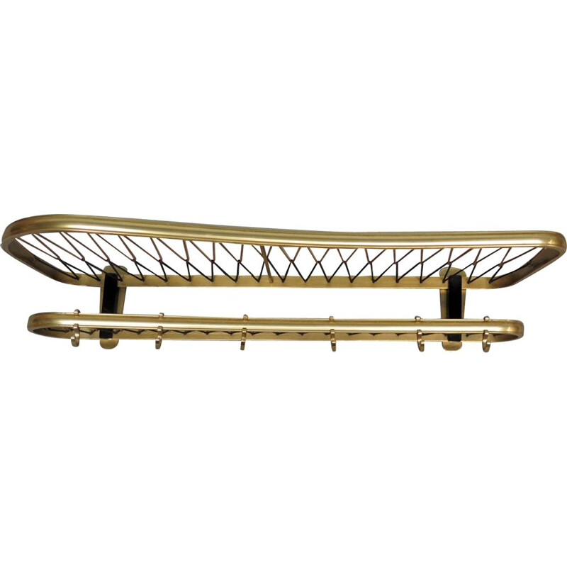 Vintage organic shape golden aluminium coat rack