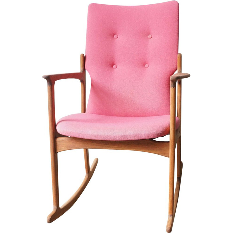 Vintage Scandinavian pink teak wooden rocking chair by Vamdrup Stolefabrik