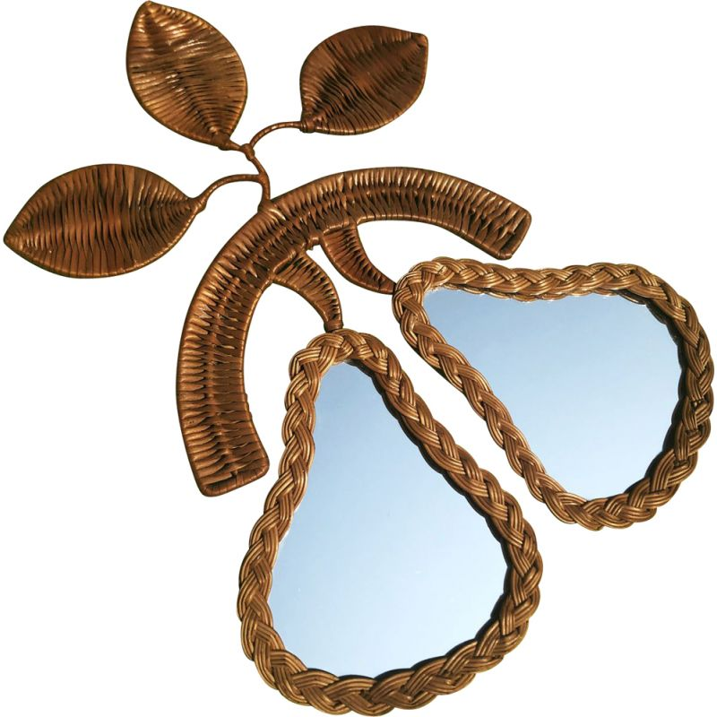 Vintage wall mirror with two rattan pears & glass, France, 1960