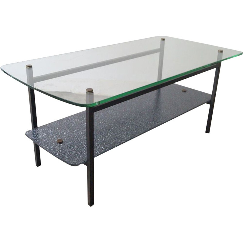 Vintage glass and steel coffee table, 1950s