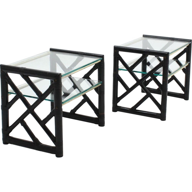 Vintage Pair of lacquered rattan and glass nighstands 1970s