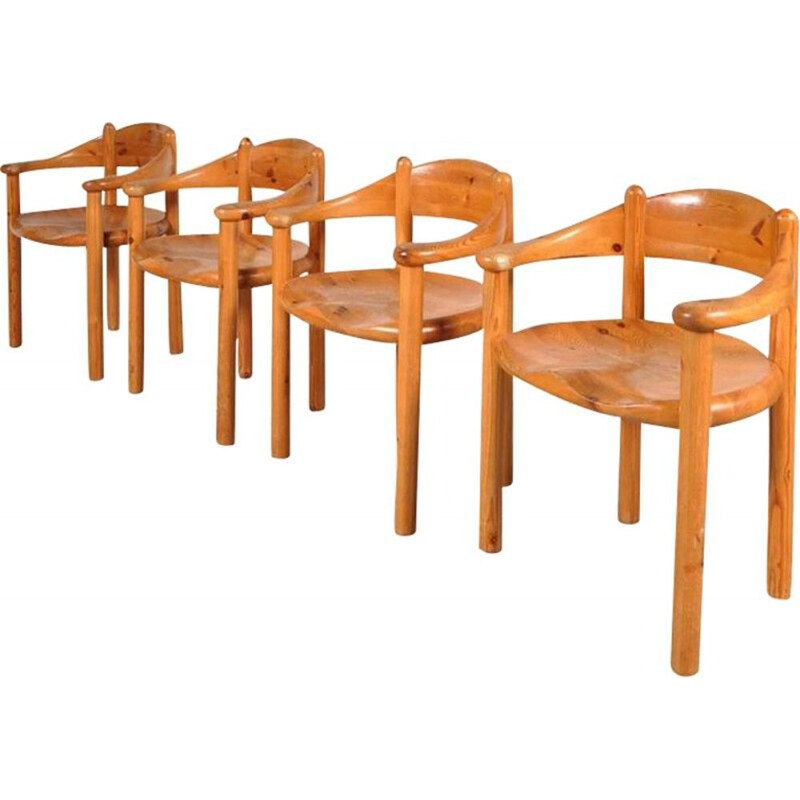 Set of four vintage chairs in pine from Rainer Daumiller 1980
