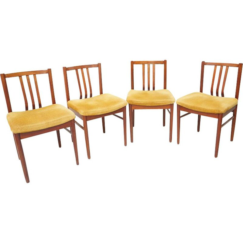 Set of 4 vintage rosewood dining chairs yellow 1950