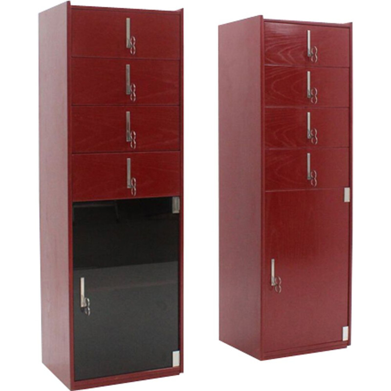 Set of 2 vintage lacquered cabinets by Vittorio Introini for Saporiti, 1970