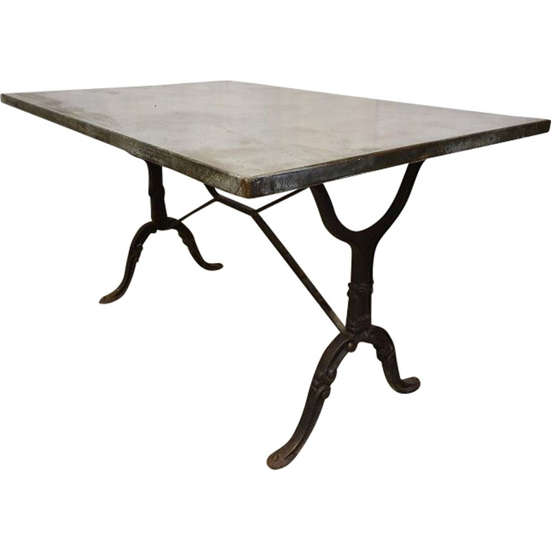 Vintage bistro table in cast iron metal 1940