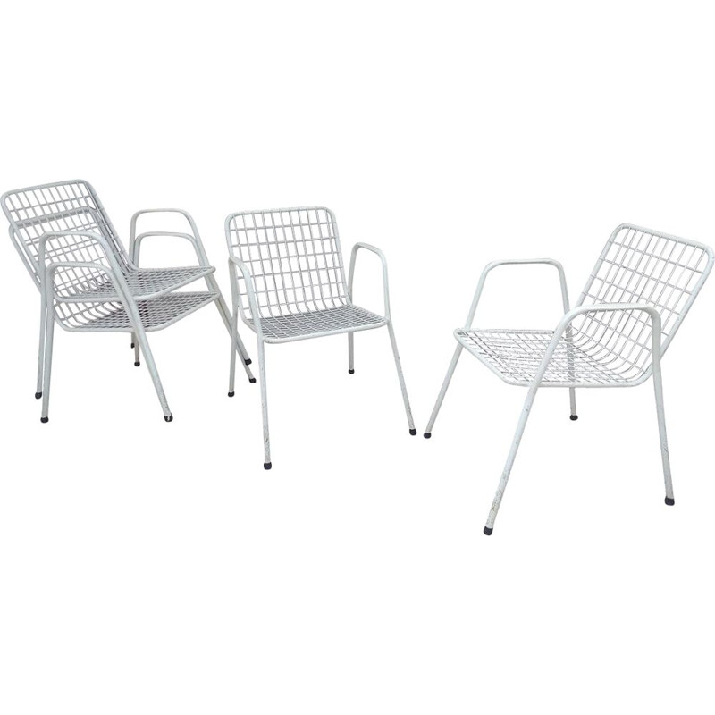 Set of 4 vintage chairs in white metal, Italy 1960