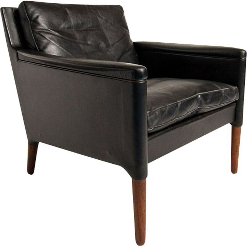Vinatage chair in leather and rosewood by Kurt Ostervig Danish 1950
