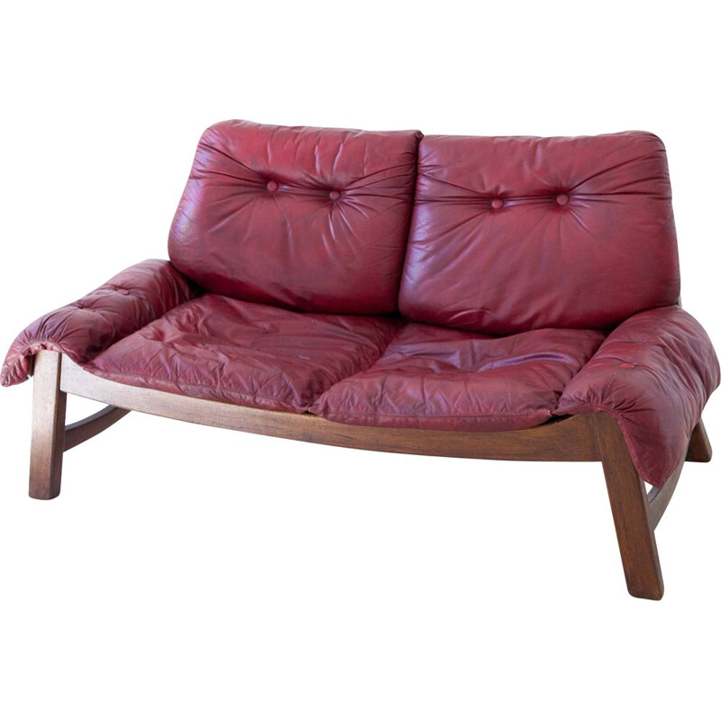 Vintage bordeaux leather with Wooden Frame Sofa 1960