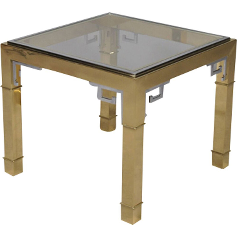 Vintage mastercraft  brass greek key large square coffee Table,1970