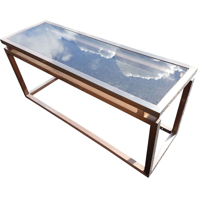 Vintage copper metal console 1970
