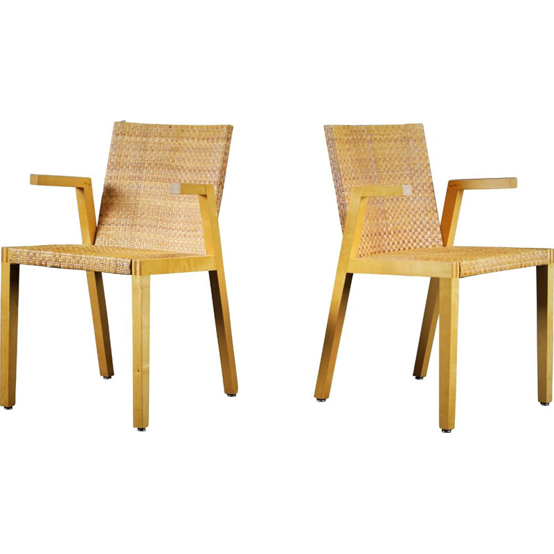 Pair of braided plywood bleeched armchairs