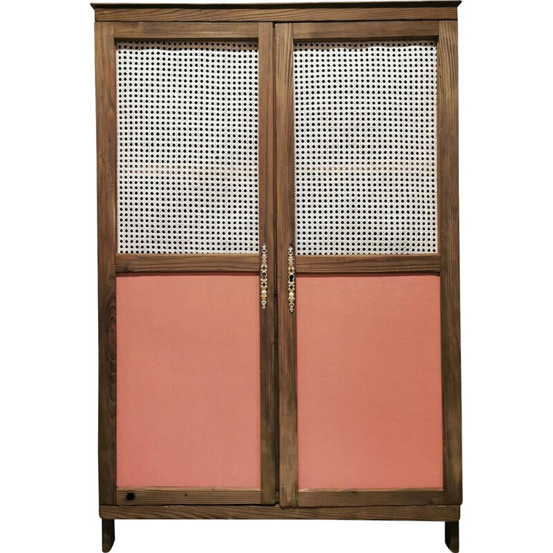 Vintage wooden and cane wardrobe