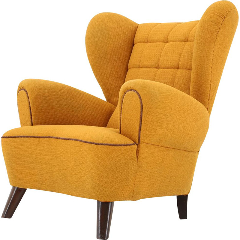Vintage yellow big wing chair 1950