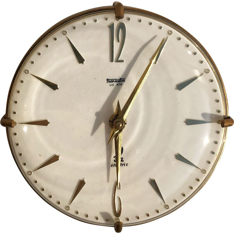 Vintage wall clock in gold metal and Swiss glass 1950
