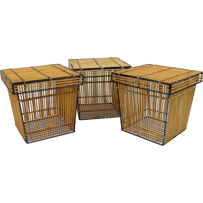 Set of 3 vintage dutch rattan and iron boxes from Rohe Noordwolde, 1960s