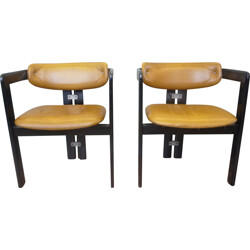 Set of 2 Pigreco chairs in wood, aluminum and leather, Tobia SCARPA - 1950s