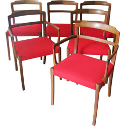 Set of 6 AJ Iversen dining chairs, Ole WANSCHER - 1960s