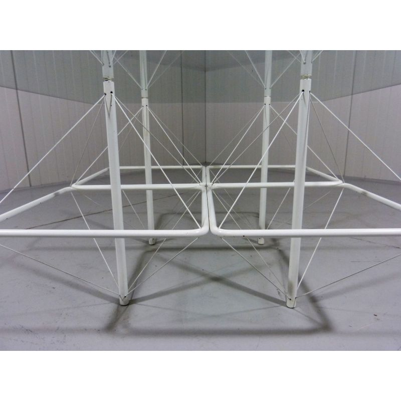 Swell Vintage Architectural Coffee Table In White Wire Steel Glass Machost Co Dining Chair Design Ideas Machostcouk