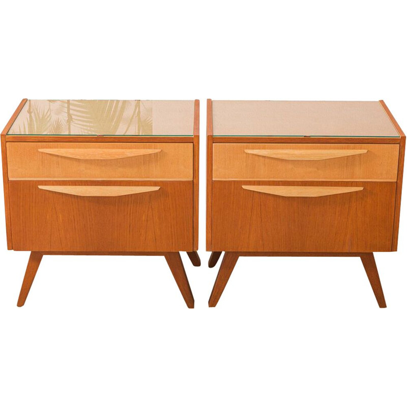 Vintage pair of bedside tables in teak and ashwood, 1950s