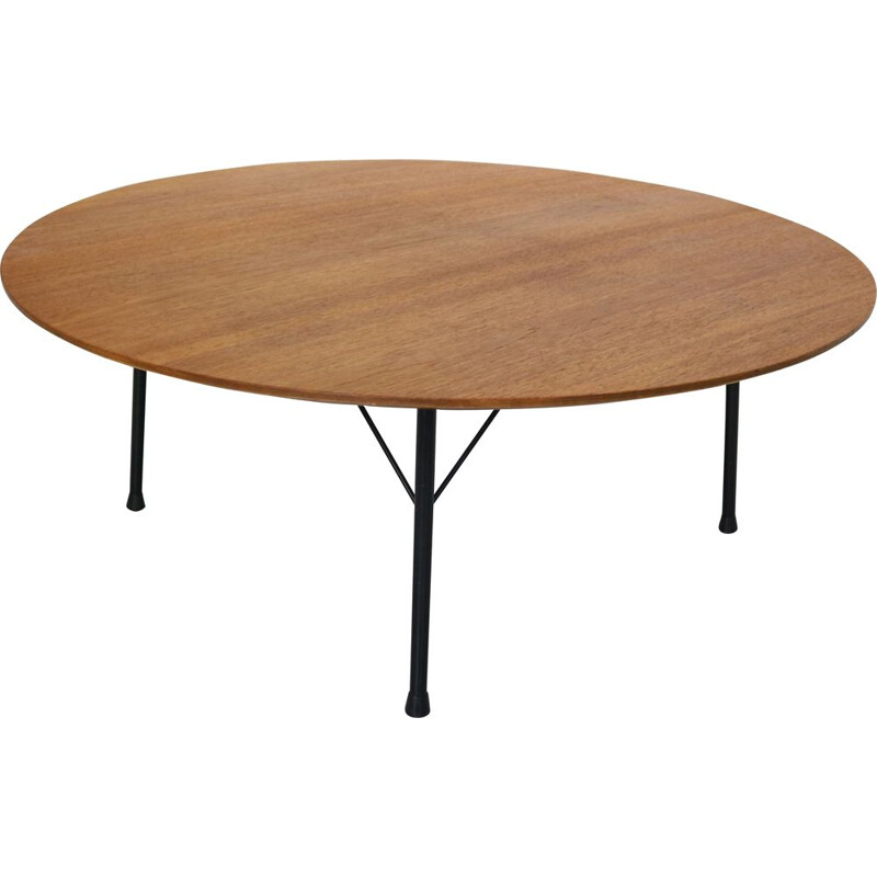 Vintage round teak coffee table, Dutch Design, by Cees Braakman for Pastoe, 1960s