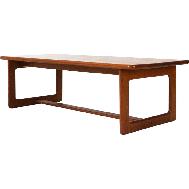 Vintage large solid teak coffee table by Burchardt-Nielsen, 1970s
