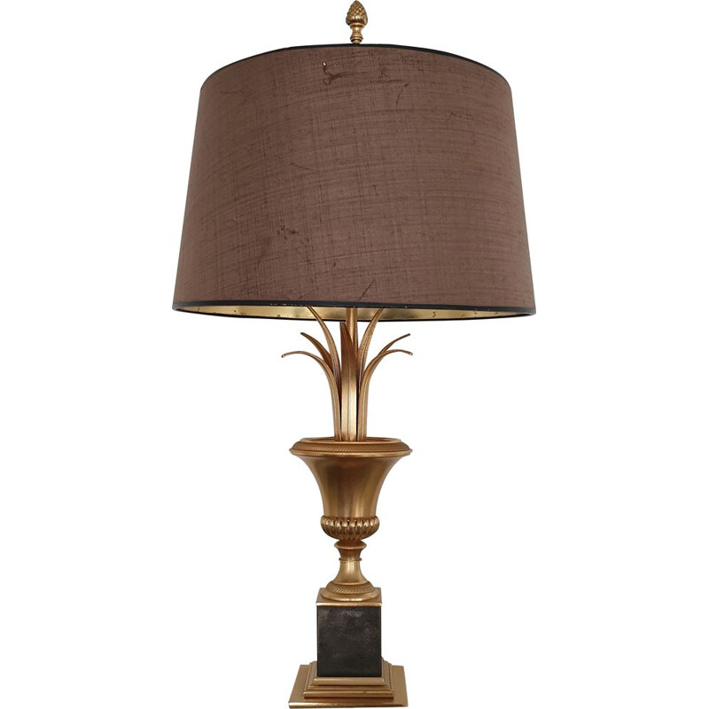 Vintage brass pineapple leaf table lamp by S.A. Boulanger, 1970s