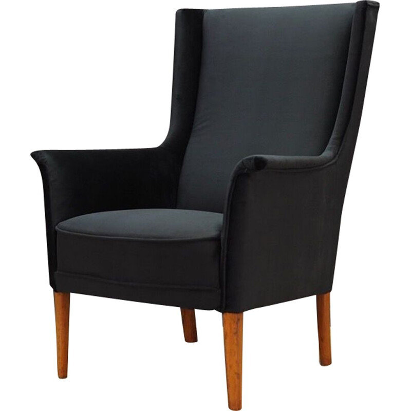 Vintage armchair in black velvet, 1960-1970