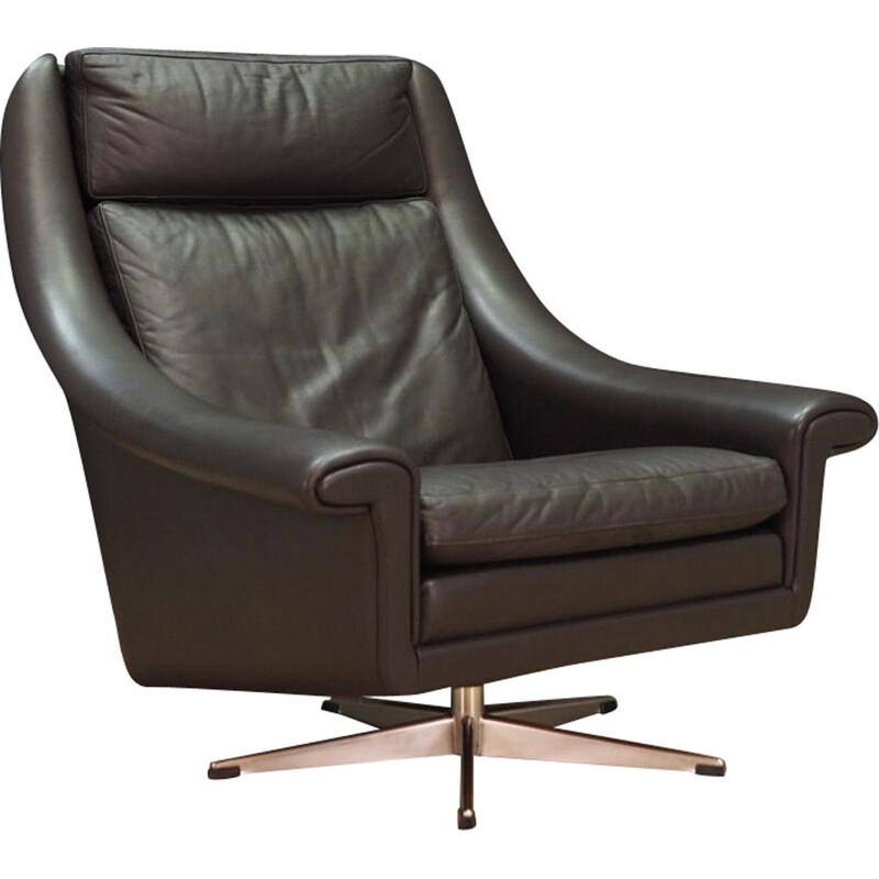 Vintage Aage Christensen leather armchair by Erhardsen & Andersen, 1960-1970