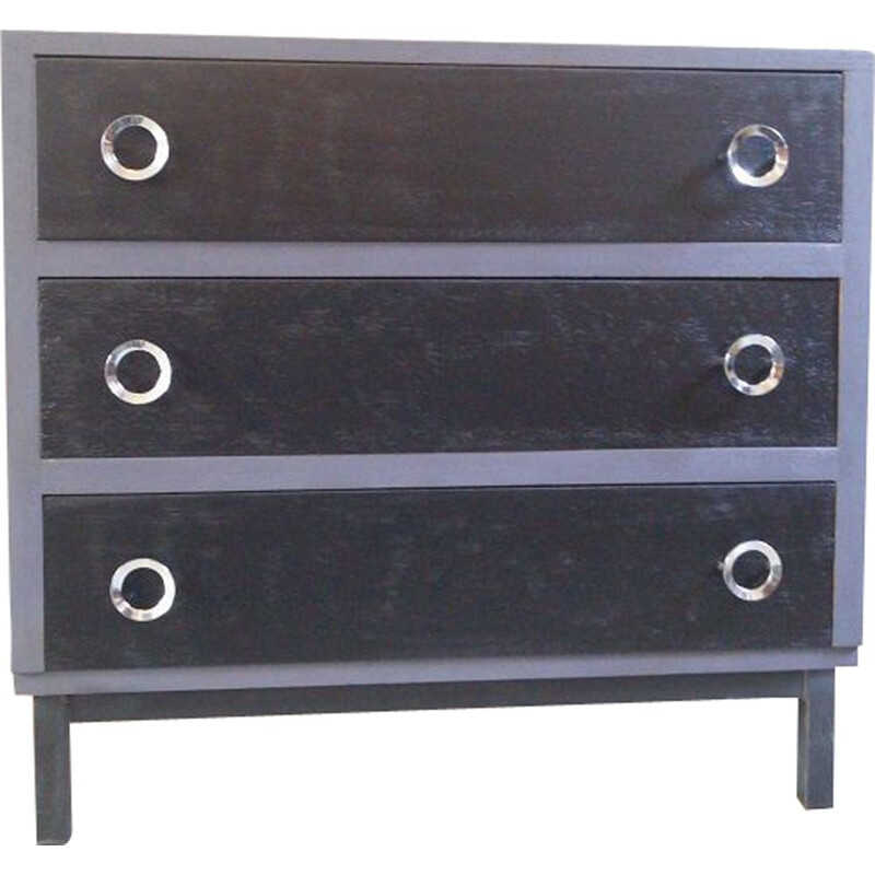 Vintage lacquered wooden chest of drawers, 1970