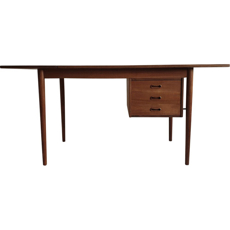 Vintage extendable teak desk by Arne Vodder for Sigh & Søns, Denmark, 1950s