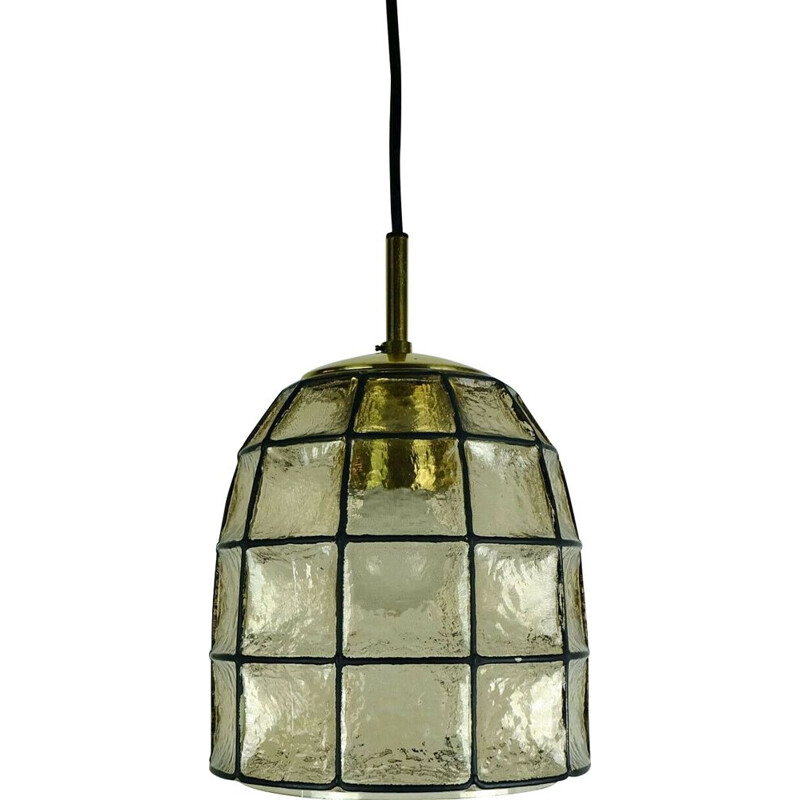 Glass vintage pendant light by Glashuette Limburg, 1960s