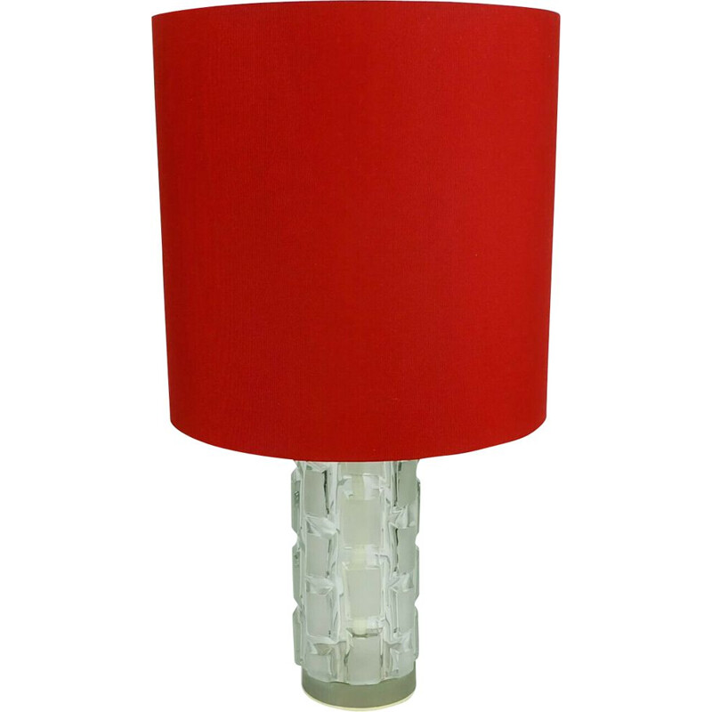 Vintage table lamp with glass base and red shade, 1960s