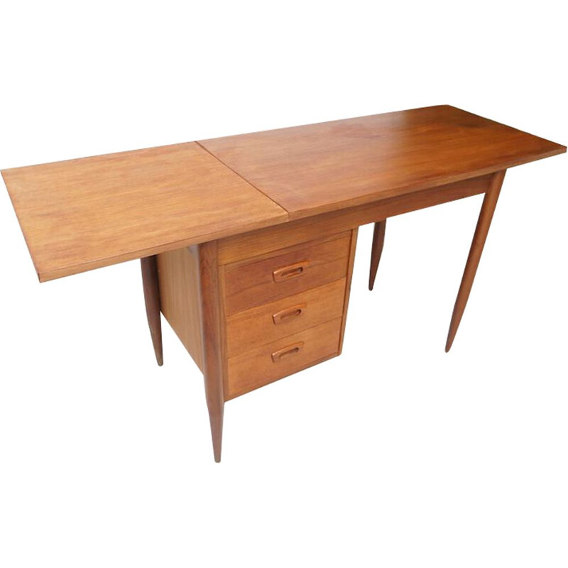 Teak leaf drop vintage desk by Arne Vodder, 1960s