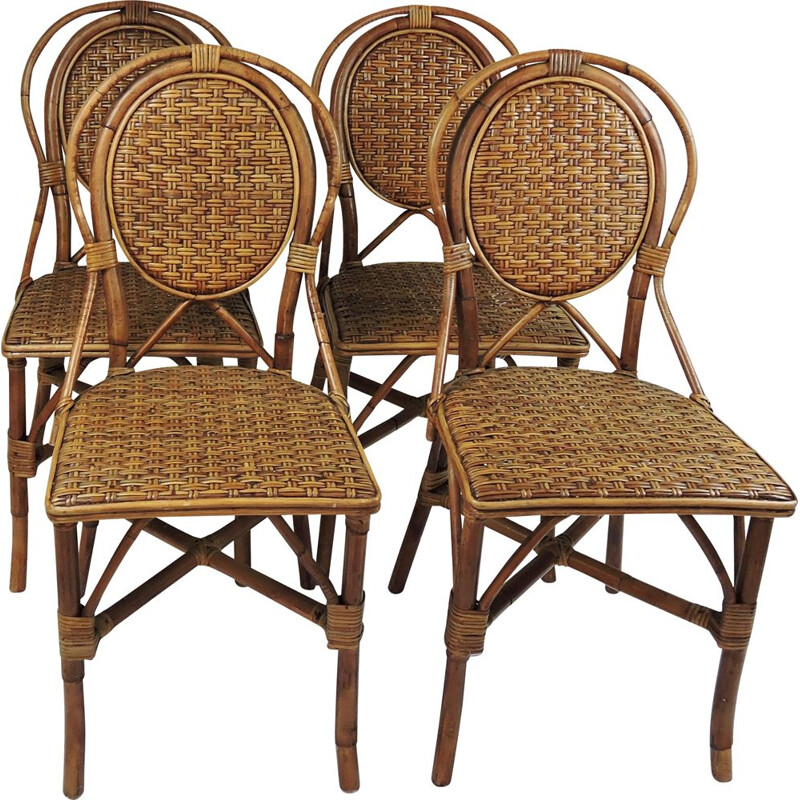 Set of 4 vintage parisian cafe rattan dining chairs, 1990s