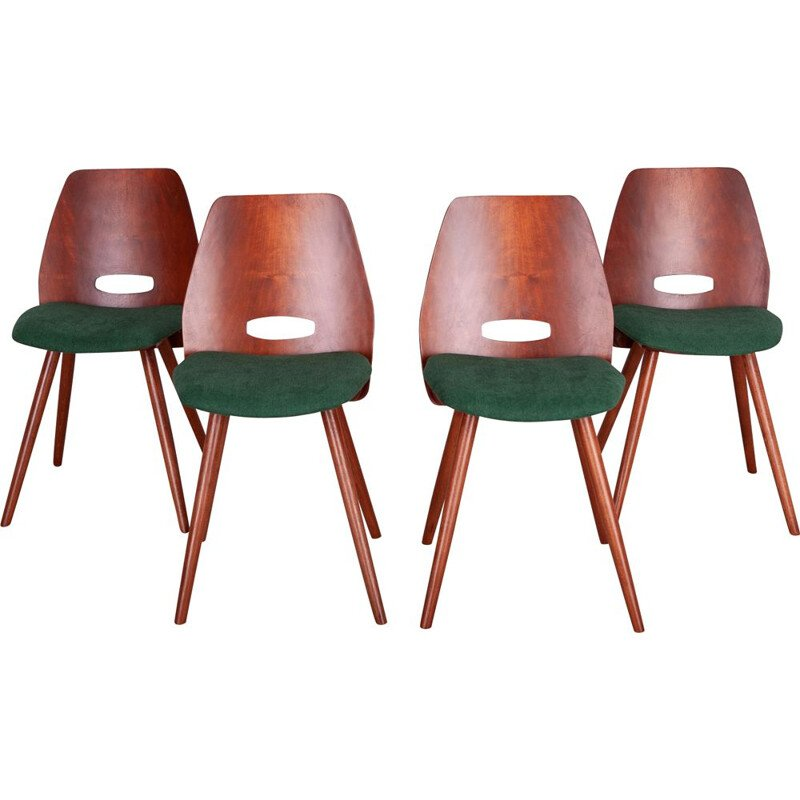 Set of 4 vintage Lollipop chairs by F. Jirak for Tatra, 1960s