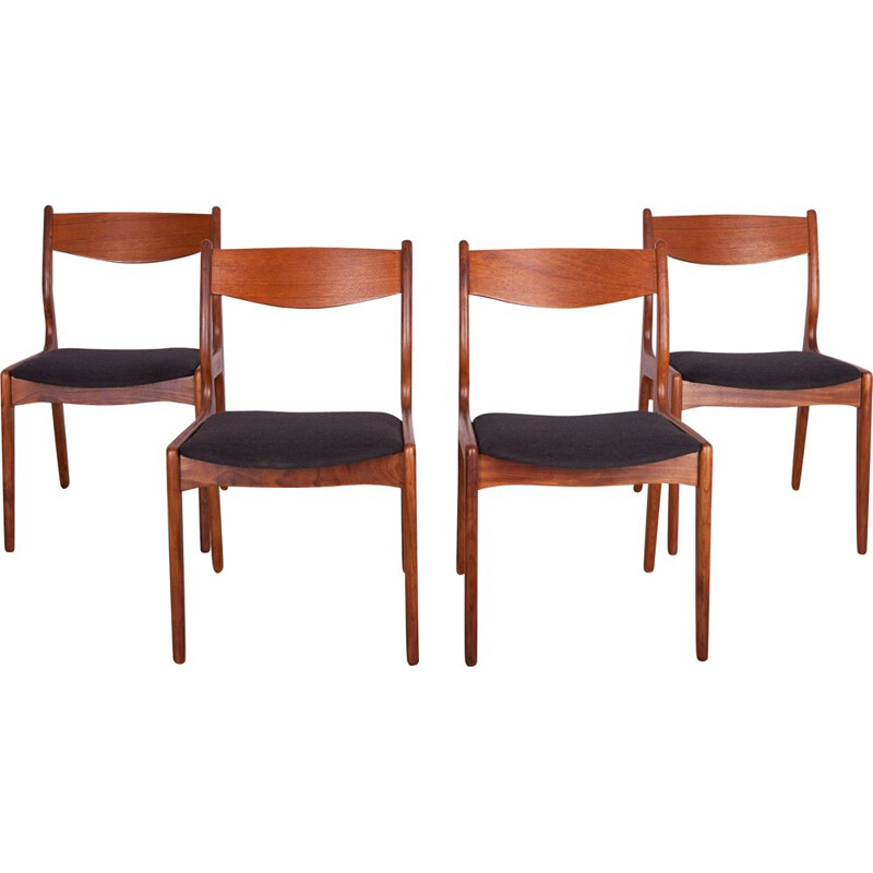 Set of 4 teak vintage dining chairs, 1960s
