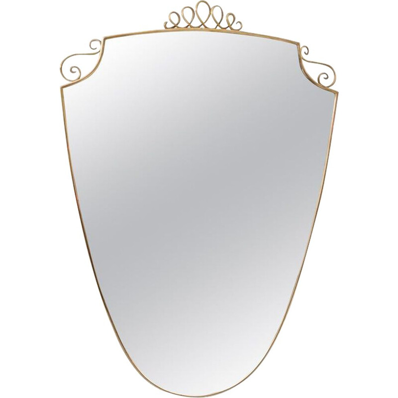 Vintage brass wall mirror in the Shape of a Shield in the Style of Gio Ponti, Italy 1950
