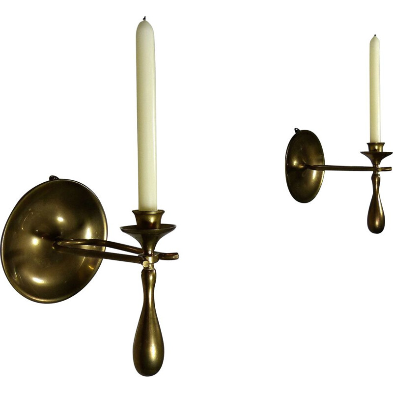 Vintage pair of Brass Wall & Table Candle Holders, 1960