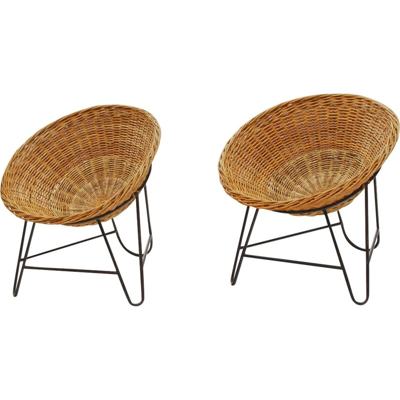 Vintage pair of Wicker armchairs, France 1950