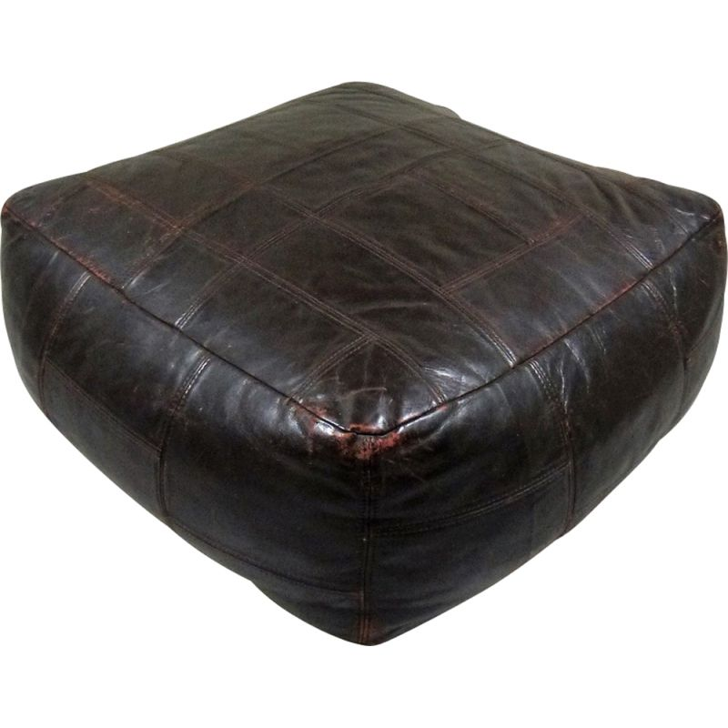 Vintage Patchwork Leather Pouf by De Sede 1970