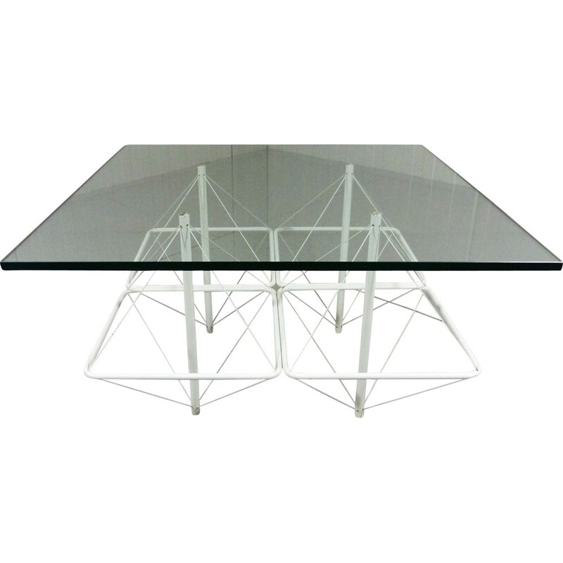 Vintage Architectural coffee table in white wire steel & glass