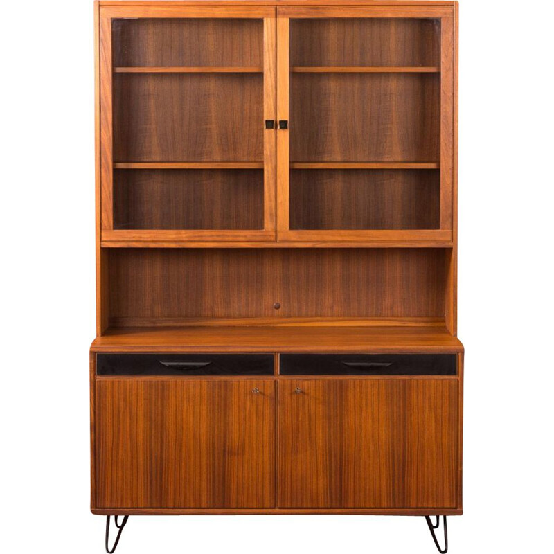 Vintage walnut showcase, Sweden 1950s