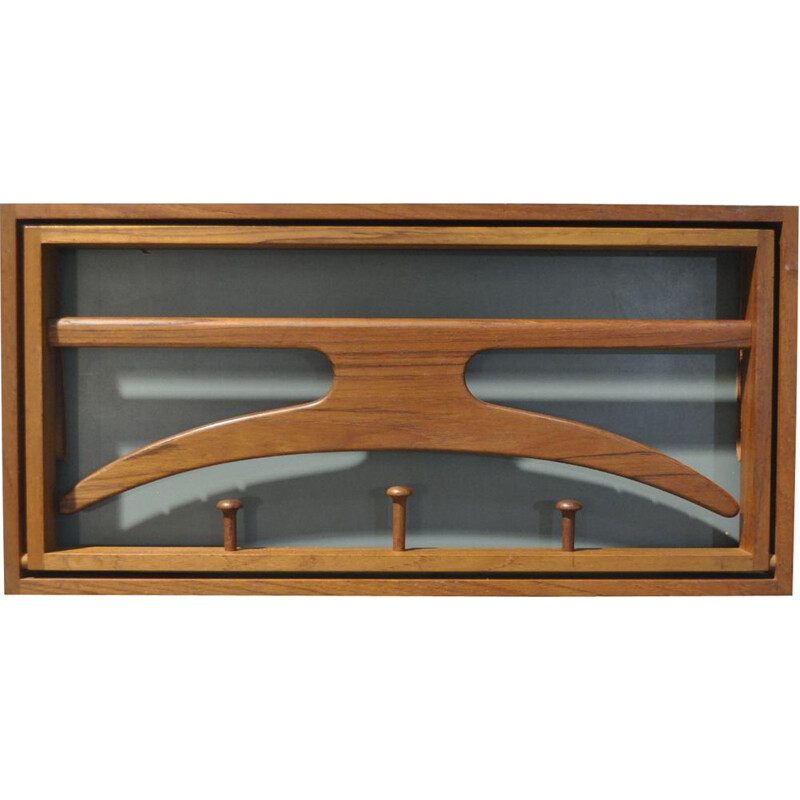 Vintage teak coat rack by Adam Hoff & Poul Ostergaard for Virum, 1950